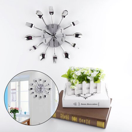 Large 3D Mirror Surface Silver Modern Design Cutlery Kitchen Utensil Spoon Fork Wall Clock DIY, Spoon Fork Clock, Spoon Fork Wall Clock