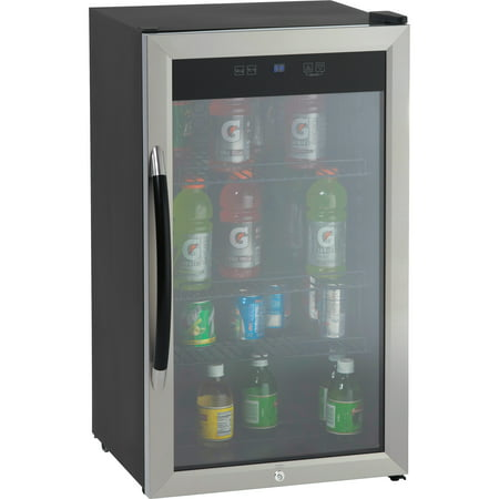 Avanti Showcase Beverage Cooler with Stainless Steel Door Frame and Dual-Pane Glass Door Dual Pane Glass Door
