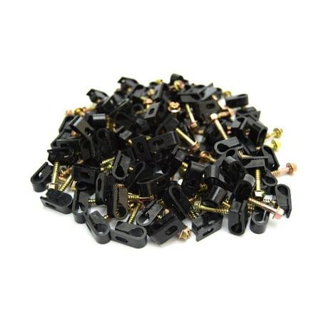 100 pcs Single Black Mounting Flex Clips w/ Strain Relief Screw RG6