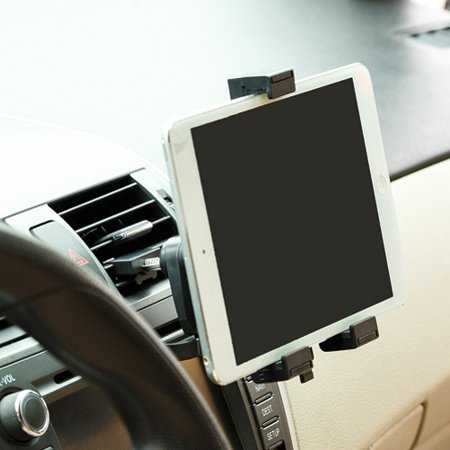 Dock Cradle Ipod (Car Mount AC Air Vent Tablet Holder Rotating Cradle Swivel Dock Stand Black Compatible With iPad 9.7 3 2)