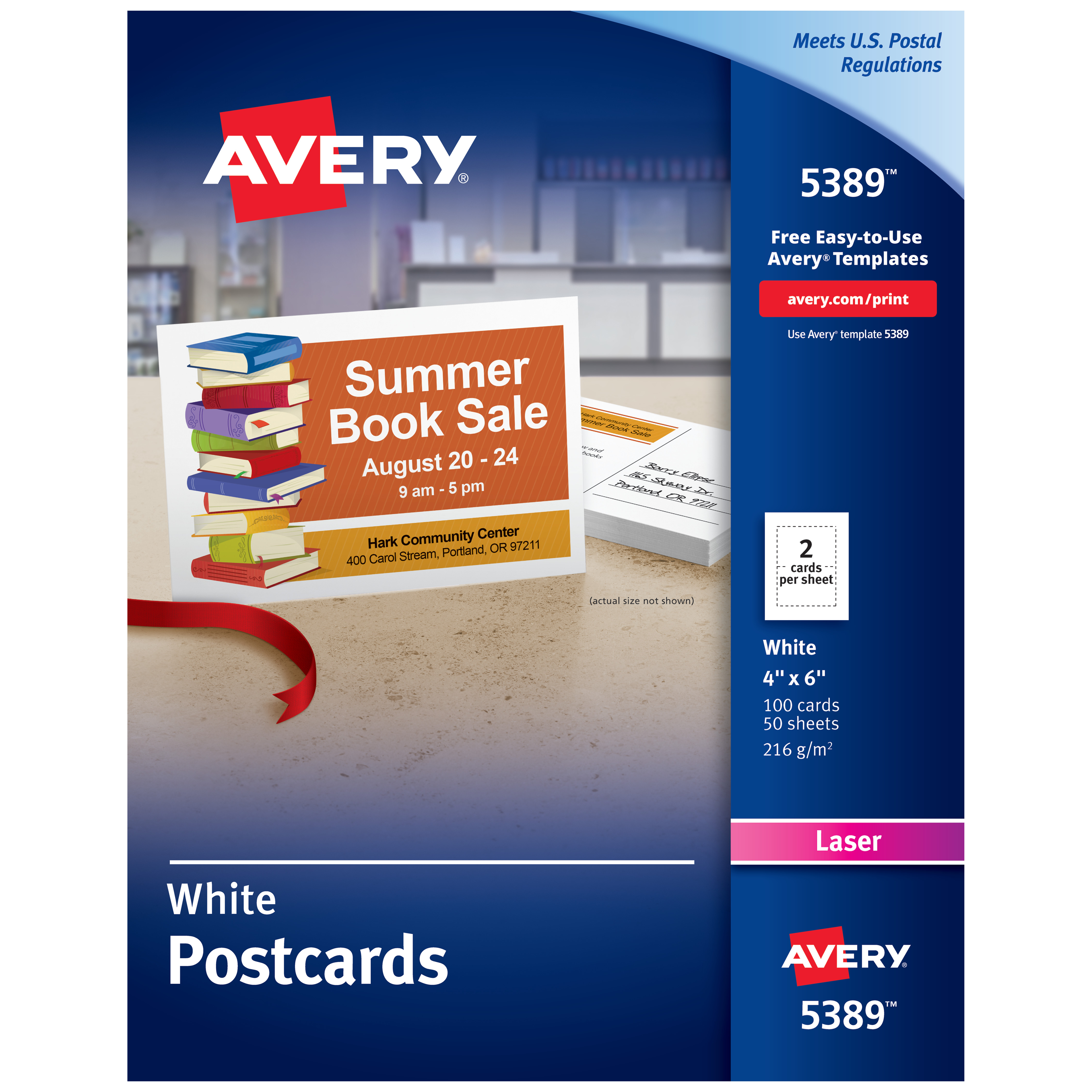 Avery Printable Cards, Laser Printers, 100 Cards, 4 x 6, U.S. Post Card Size (5389)