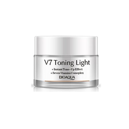 V7 Toning Light-Instant Tone & Up Effect, Soften Skin and Skin Whitening Seven Vitamins Complex, 50g with 24K Gold Facial
