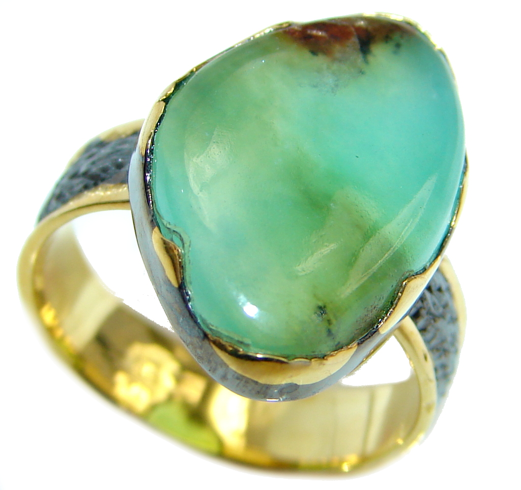 Statement Ring Chrysoprase Gold Rhodium Plated over Sterling Silver Ring s. 7 by SilverRush Style by