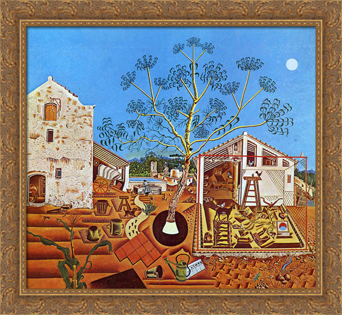 The Farm 30x28 Large Gold Ornate Wood Framed Canvas Art by Joan Miro