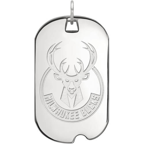 LogoArt NBA Milwaukee Bucks Sterling Silver Large Dog Tag