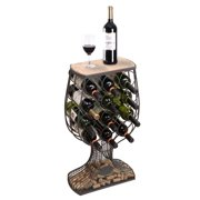 Vintage Decorative Wooden Metal Goblet Shaped Freestanding Wine Rack with Cork Holder