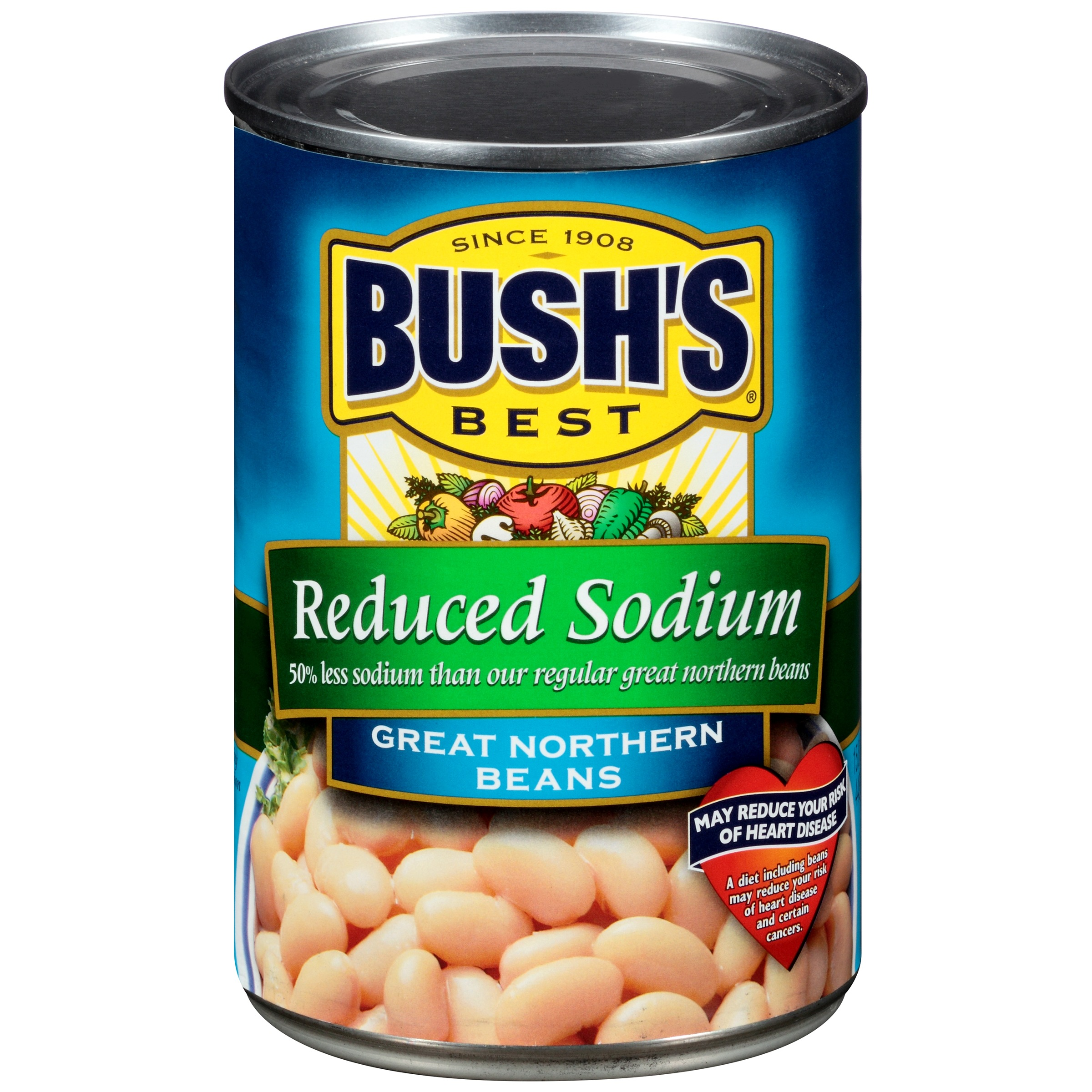 Bush's Best Reduced Sodium Great Northern Beans 15.8 oz. Can by Bush Brothers & Company
