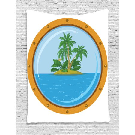 Breeze Tapestry - Ocean Island Decor Wall Hanging Tapestry, Graphic Of Tropic Island View From The Bronze Ship Window With Palm Trees, Bedroom Living Room Dorm Accessories, By Ambesonne