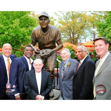 Ripken Jr Hall Of Fame - Baltimore Orioles Hall of Fame players Brooks Robinson Cal Ripken Jr Eddie Murray Earl Weaver Frank Robinson & Jim Palmer Photo Print