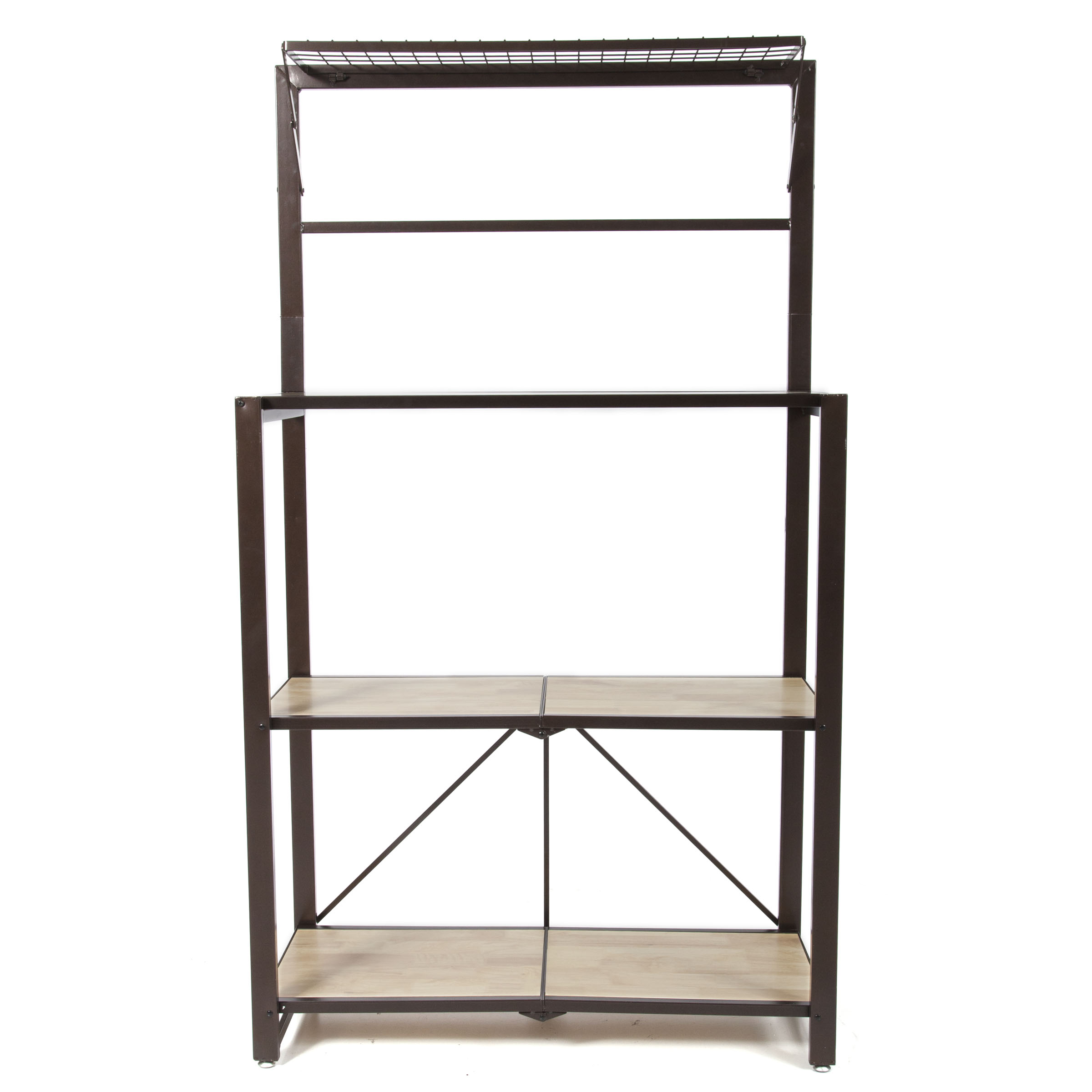 Origami Heavy Duty Durable Organizational Baker's Rack with Wood Shelf, Brown