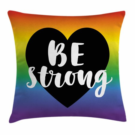 Pride Decorations Throw Pillow Cushion Cover, Be Strong Gay Parade Slogan Freedom Rights Equality Love Theme Heart Icon, Decorative Square Accent Pillow Case, 20 X 20 Inches, Multicolor, by Ambesonne (Parade Decorations)