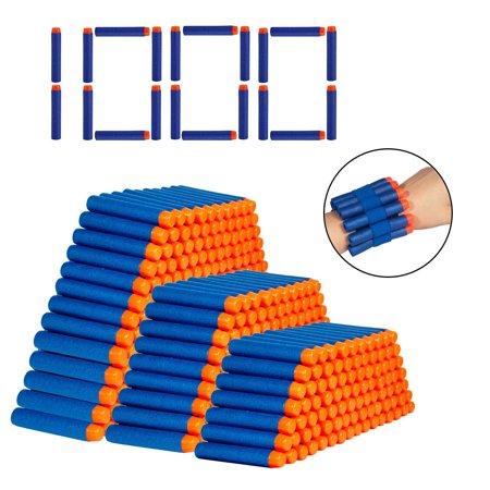 WALFRONT 1000pcs Kids Toy Gun Bullet Darts Round Head Blaster Soft EVA Refill,Gun Refill, Bullet Darts Toy - Kids Toy Guns