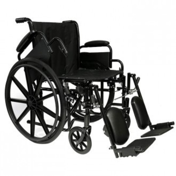 "20"" Self Transport Folding Wheelchair wDetachable Desk Armrests, Elevating Legs"
