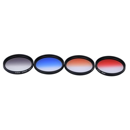 Graduated Gray Filter (Andoer Professional 55mm GND Graduated Filter Set GND4(0.6) Gray Blue Orange Red Graduated Neutral Density Filter for Canon Nikon DSLR 55mm Camera Lens )