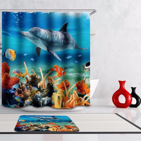 180cm X 200cm Dolphin Fish Ocean Home Decor Coral Reef Bathroom Shower Curtain Mildewproof + -