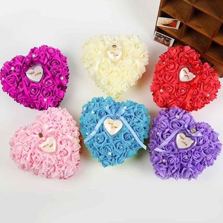 Romantic Rose Wedding Favors Heart Shaped Gift Ring Box Pillow - Heart Shaped Favor Boxes