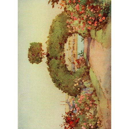 The Banks of the Nile 1913 A rose-garden at Giza Poster Print by  Ella du Cane