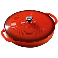 Lodge 3.6 Quart Red Enameled Cast Iron Casserole with lid, EC3CC43