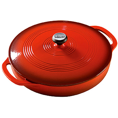Lodge Red Enamel CI 3.6qt. Covered Casserole, EC3CC43