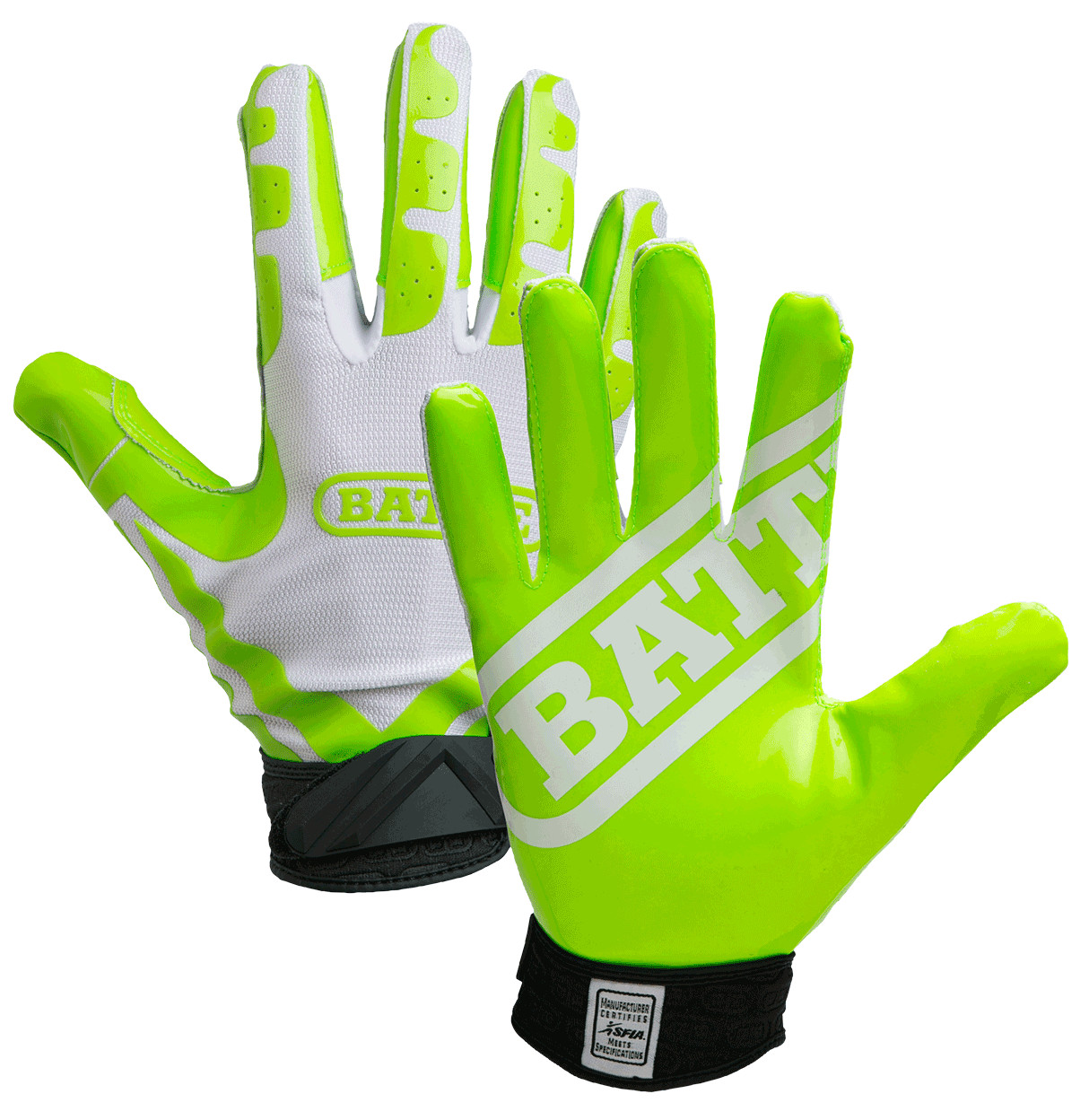 Battle Sports Ultra Stick Receivers Gloves  Neon Green / White  Adult