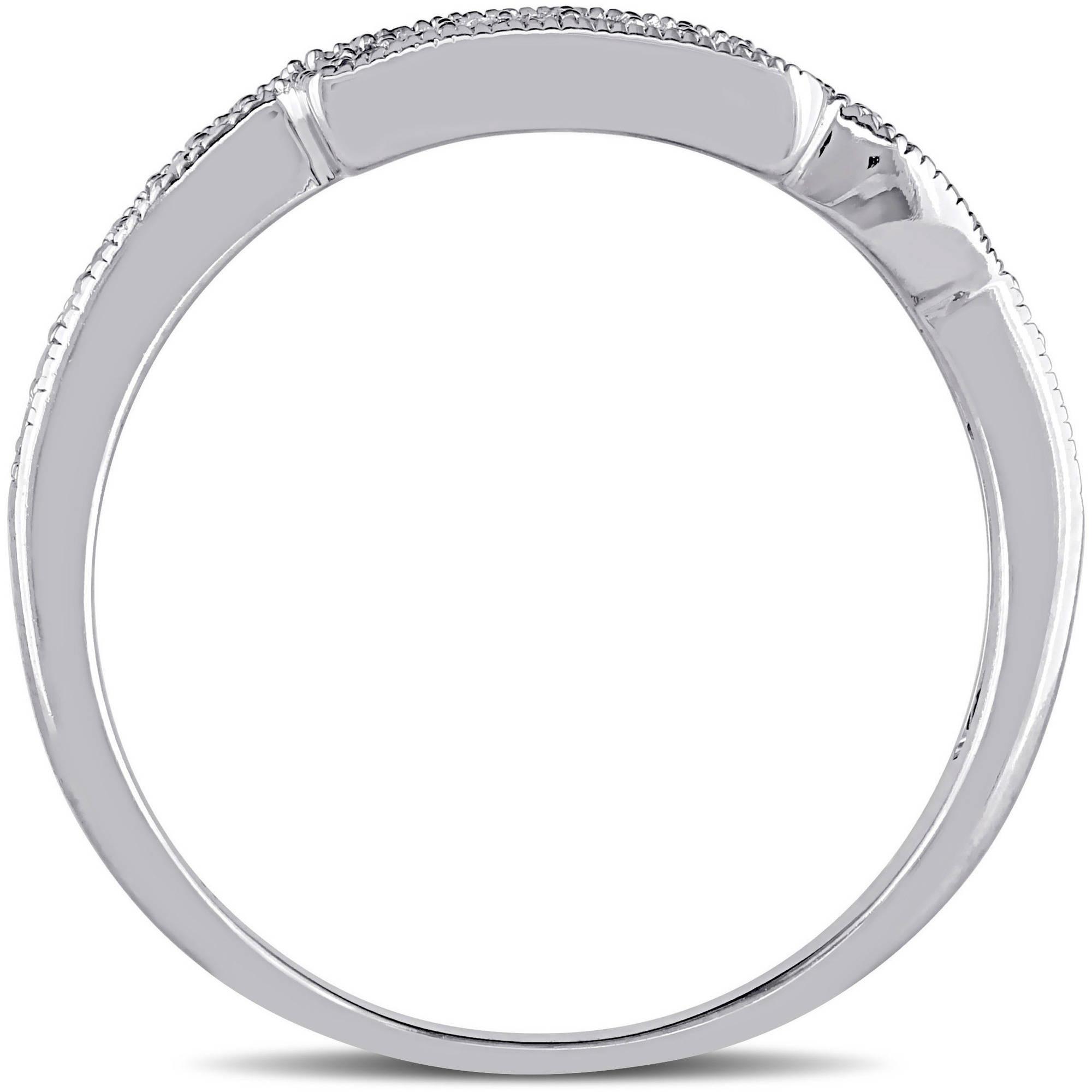 Miabella Diamond-Accent 10kt White Gold Wedding Band