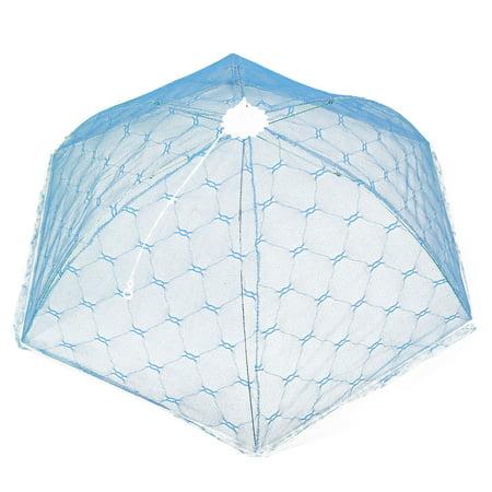 Kitchen Metal Frame Nylon Mesh Umbrella Shape Foldable Table Food Net Cover Blue (Food Umbrella)