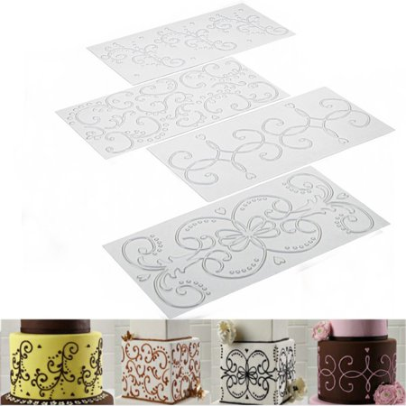 Tuscom 4PC Cake Fondant Impression Mat Mold Diamond Quilted Grid Texture Embossed Lace Embossing Mat Cake Decorating Supplies for Cupcake Wedding Cake Decoration Tools - Halloween Cupcakes With Fondant