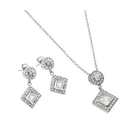 .925 Sterling Silver Rhodium Plated Clear Diamond Shape Square Cubic Zirconia Dangling Stud Earring &  Dangling Necklace Set