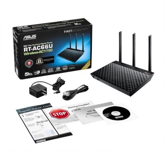 Asus 802 11ac Dual-Band Wireless AC1750 Gigabit Router SPI 4Port RT-AC66U B1