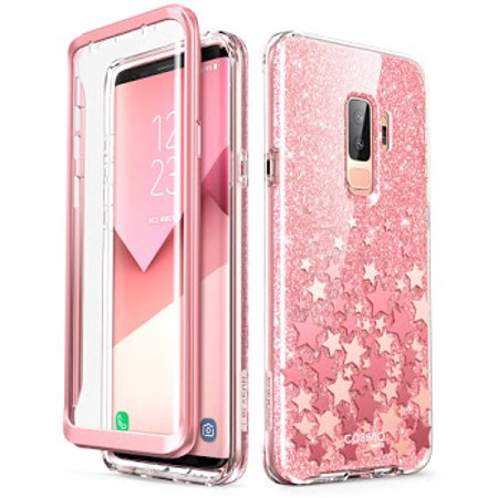 Samsung Galaxy S9 Plus Case, [Built-in Screen Protector] i-Blason [Cosmo] Full-Body Glitter Clear Bumper Case for Galaxy S9 Plus (2018 Release) (Pink) (Vs Pink Galaxy S3 Phone Case)