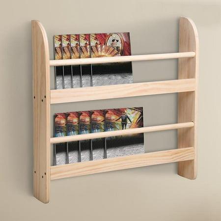 yescom 2 tier wood wall mounted bookshelf floating shelf book rack storage display space saving. Black Bedroom Furniture Sets. Home Design Ideas
