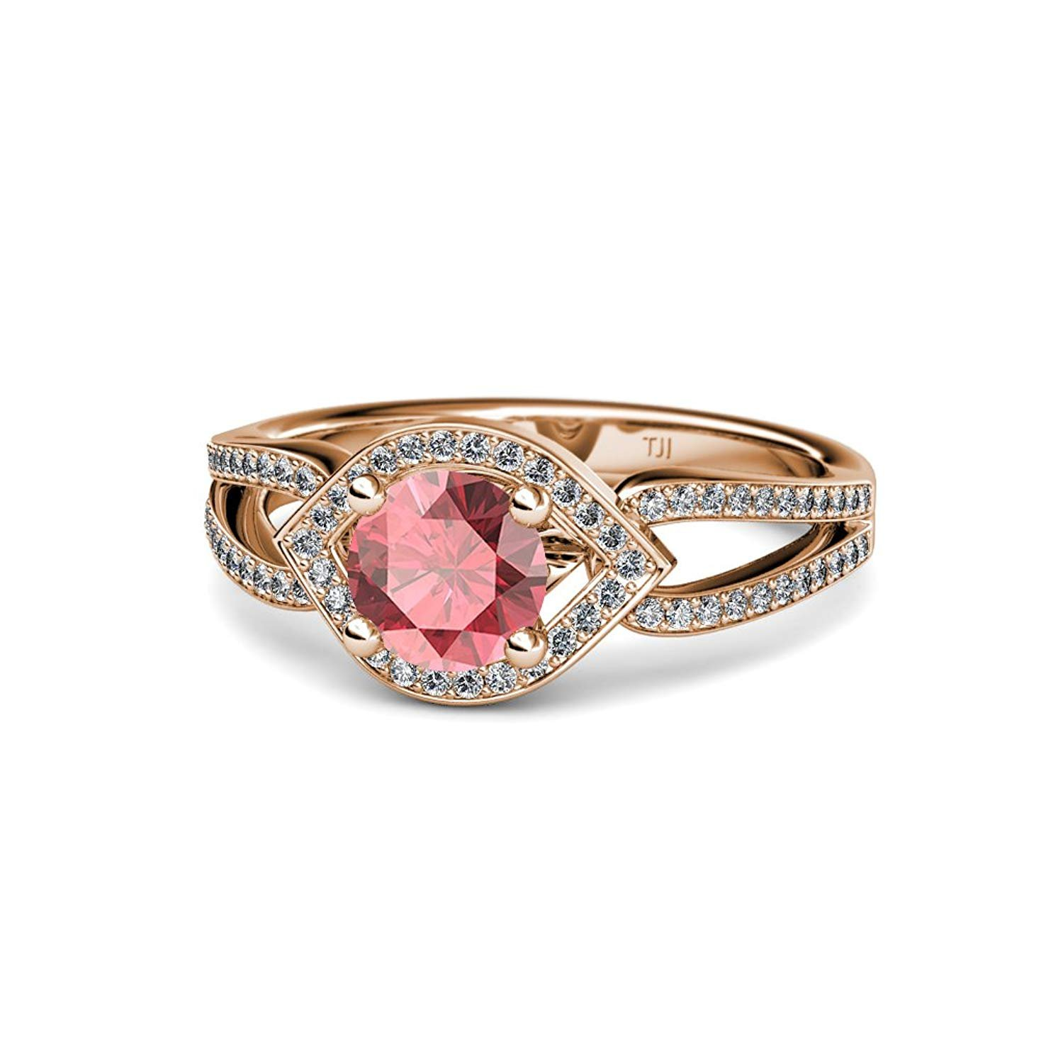 Pink Tourmaline and Diamond (SI2-I1, G-H) Eye Halo Engagement Ring 1.43 ct tw in 14K Rose Gold.size 8.5 by TriJewels