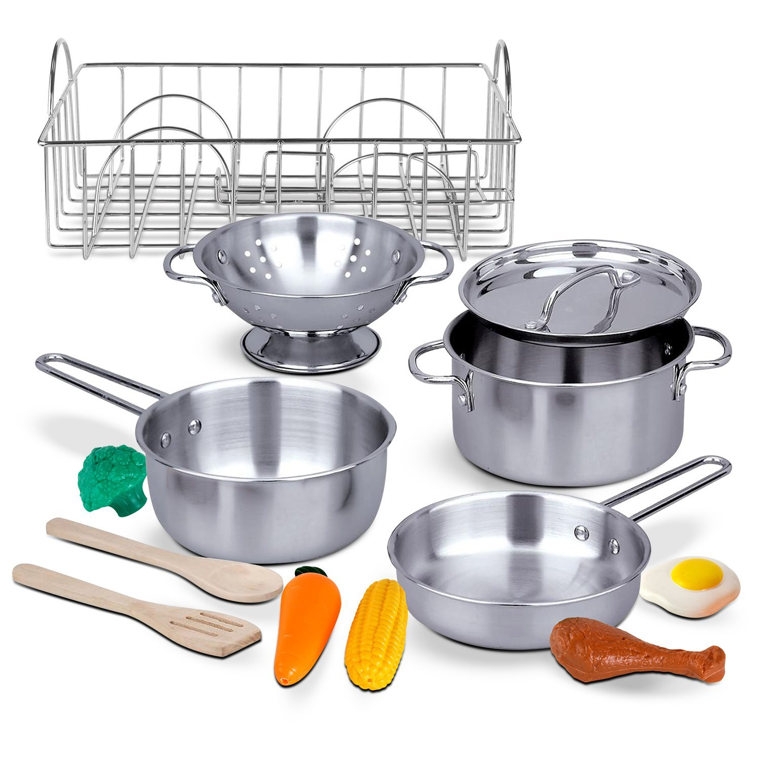 Kidzlane Stainless Steel Play Pots and Pans with Drainer and Play ...