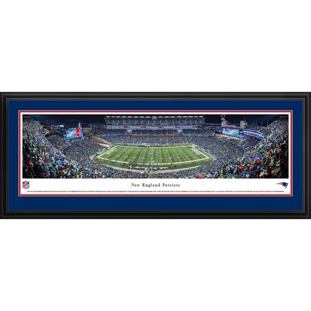 New England Patriots - 50 Yard Line at Gillette Stadium - Blakeway Panoramas NFL Print with Deluxe Frame and Double Mat ()
