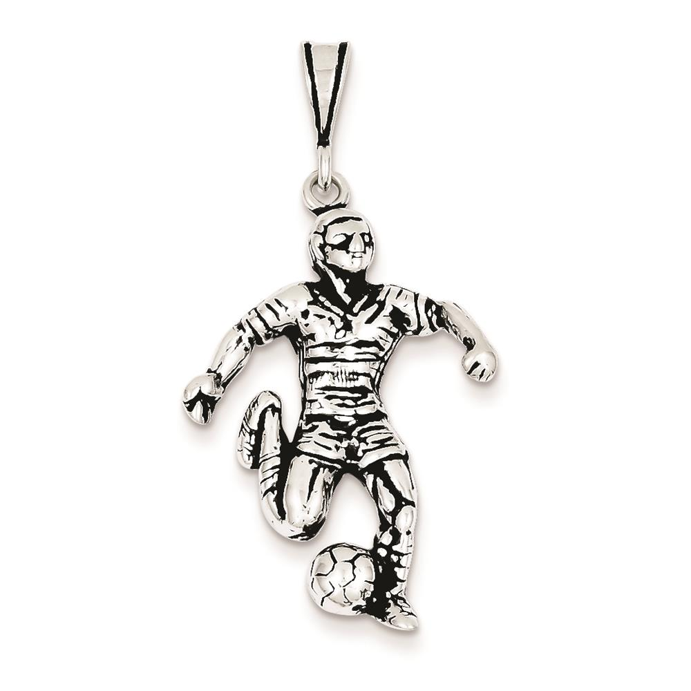 925 Sterling Silver Antiqued 3-d Soccer Player 31mm x 21mm Charm Pendant