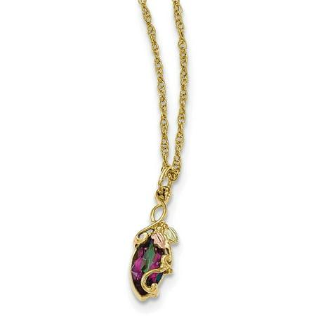 10k Tri-Color Gold Black Hills Mystic Topaz Necklace Black Hills Gold Star