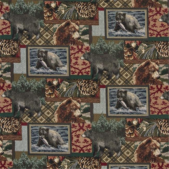 Designer Fabrics A018 54 in. Wide , Bears, Fish, Acorns And Trees, Themed Tapestry Upholstery Fabric