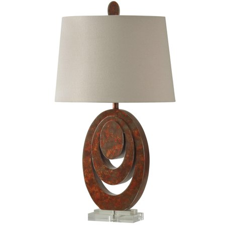 Rust Wall Lamp - Wellwood Table Lamp - Rust Finish - White Hardback Fabric Shade