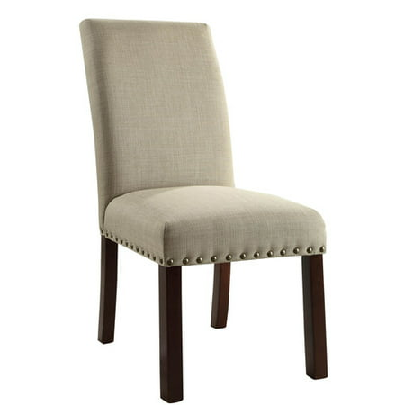Linen Tan Nail Head Parsons Chairs Set Of 2 Image 1 12
