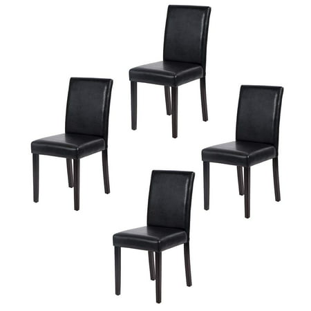 Set of 4 Urban Style Leather Dining Chairs With Solid Wood Legs Chair Black Leather Dining Room Chairs