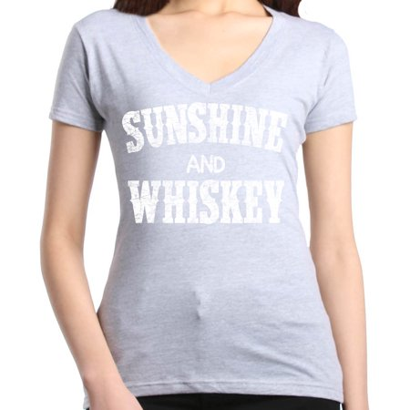 Shop4Ever Women's Sunshine and Whiskey Drinking Slim Fit V-Neck T-Shirt