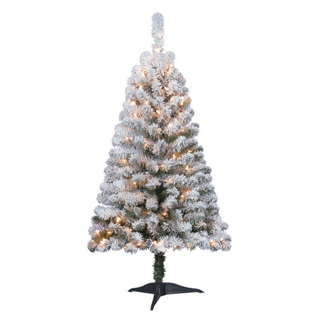 Holiday Time 4ft Pre-Lit Flocked Greenfield Pine ...