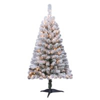 product image holiday time 4ft pre lit flocked greenfield pine artificial christmas tree with 105 clear lights