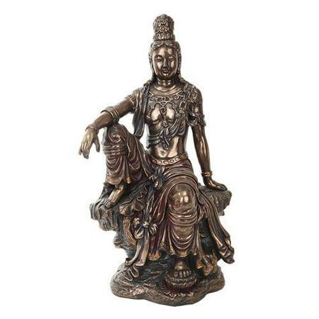 Seated Kuan Yin Statue - 16 Inch Water and Moon Kuan Yin Buddhist Bronze Finish Statue Figurine