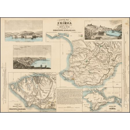 LAMINATED POSTER Physical Map of the Crimea With enlarged Maps of the Sat of War, And Views of Sebastapol & Balaklava, From the best Authorities by Ernest Sandoz. POSTER PRINT 24 x 36