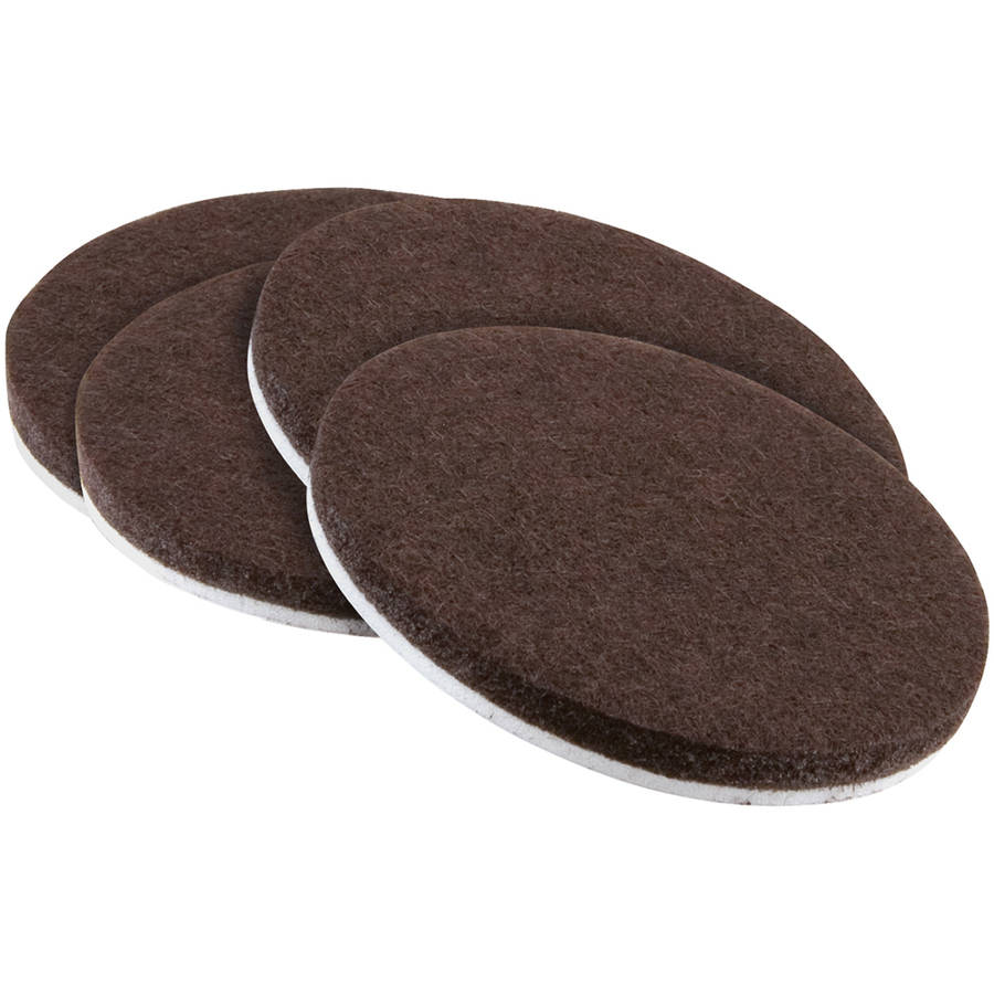 """Waxman Consumer Group 4723695N 3"""" Brown Round Self-Stick Felt Pads, 4 Count"""