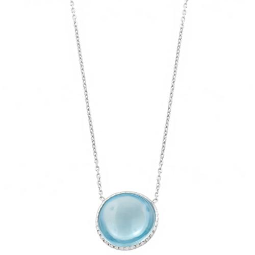 Fremada Sterling Silver Round Cabochon Blue Topaz Necklace (18 inch) by Overstock
