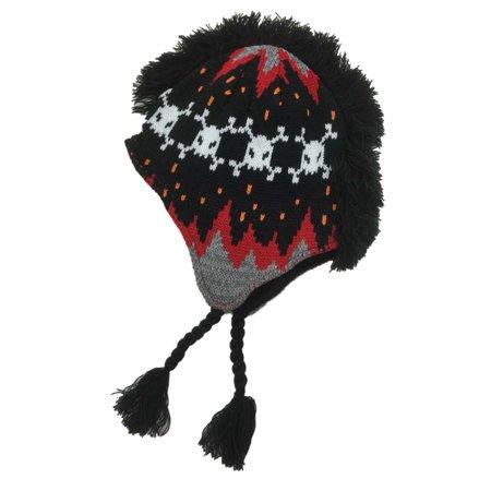 Aquarius Boys Black   Red Skull Print Mohawk Hat Fringe Peruvian Style  Trapper 983cf5529de
