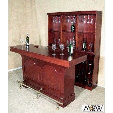 Coaster Cherry Wine Liquor Home Pub Bar W Dry Sink