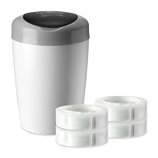 Tommee Tippee Simplee Diaper Pail With 4 Refill Cartridges Gray by Tommee Tippee
